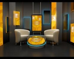 tv set design with light tape